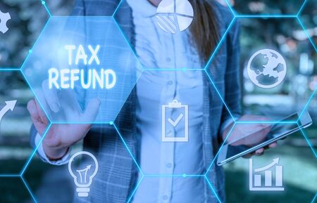Handwriting text writing Tax Refund. Conceptual photo refund on tax when the tax liability is less than the tax paid Female human wear formal work suit presenting presentation use smart device