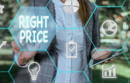 Handwriting text writing Right Price. Conceptual photo the amount of money that it is reasonable for the product Female human wear formal work suit presenting presentation use smart device