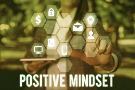 Writing note showing Positive Mindset. Business concept for mental attitude in wich you expect favorable results