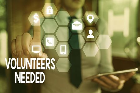 Word writing text Volunteers Needed. Business photo showcasing need work or help for organization without being paid Stock Photo