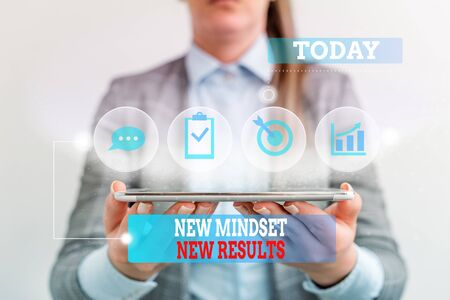 Handwriting text writing New Mindset New Results. Conceptual photo obstacles are opportunities to reach achievement Female human wear formal work suit presenting presentation use smart device