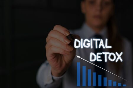 Writing note showing Digital Detox. Business concept for Free of Electronic Devices Disconnect to Reconnect Unplugged Woman wear formal work suit presenting presentation using smart device