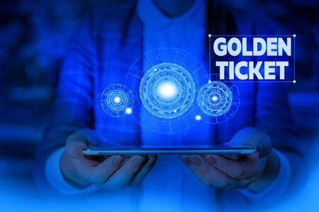 Handwriting text writing Golden Ticket. Conceptual photo Rain Check Access VIP Passport Box Office Seat Event Woman wear formal work suit presenting presentation using smart device