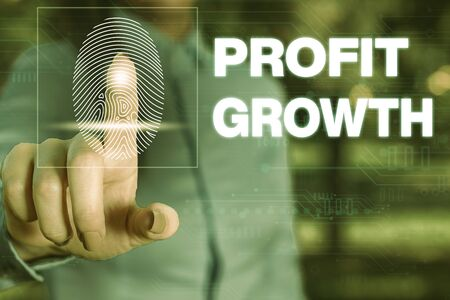 Handwriting text writing Profit Growth. Conceptual photo Objectives Interrelation of Overall Sales Market Shares Woman wear formal work suit presenting presentation using smart device