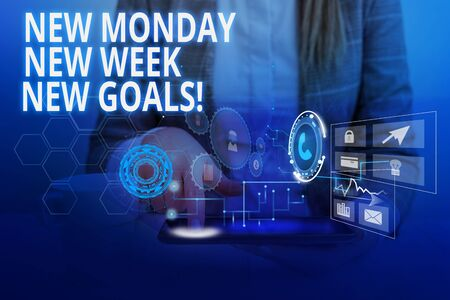 Word writing text New Monday New Week New Goals. Business photo showcasing goodbye weekend starting fresh goals targets Woman wear formal work suit presenting presentation using smart device 스톡 콘텐츠