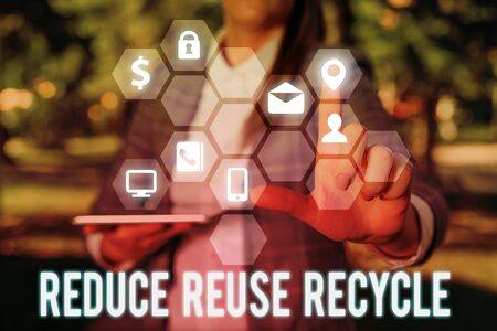 Writing note showing Reduce Reuse Recycle. Business concept for environmentallyresponsible consumer behavior
