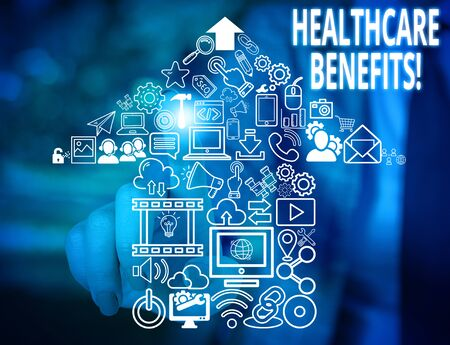Conceptual hand writing showing Healthcare Benefits. Concept meaning monthly fair market valueprovided to Employee dependents Woman wear work suit presenting presentation smart device