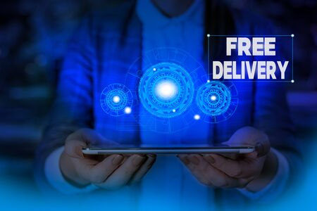 Handwriting text writing Free Delivery. Conceptual photo Shipping Package Cargo Courier Distribution Center Fragile Woman wear formal work suit presenting presentation using smart device