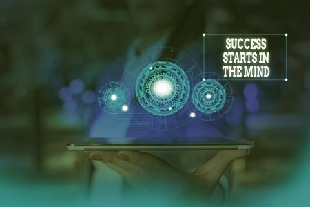 Text sign showing Success Starts In The Mind. Business photo text set your mind to positivity it can go a long way Woman wear formal work suit presenting presentation using smart device