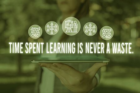 Handwriting text Time Spent Learning Is Never A Waste. Conceptual photo education has no end Keep learning Woman wear formal work suit presenting presentation using smart device