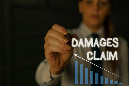 Writing note showing Damages Claim. Business concept for Deanalysisd Compensation Litigate Insurance File Suit Woman wear formal work suit presenting presentation using smart device Imagens