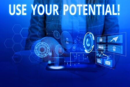 Word writing text Use Your Potential. Business photo showcasing achieve as much natural ability makes possible Woman wear formal work suit presenting presentation using smart device