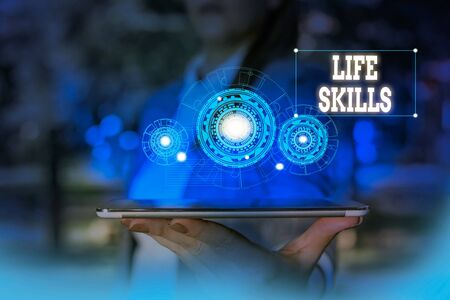 Text sign showing Life Skills. Business photo text skill that is necessary for full participation in everyday life Woman wear formal work suit presenting presentation using smart device
