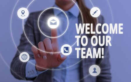 Word writing text Welcome To Our Team. Business photo showcasing introducing another demonstrating to your team mates
