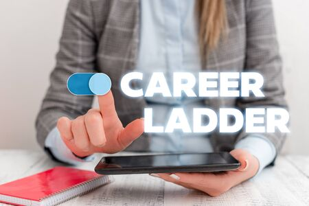 Conceptual hand writing showing Career Ladder. Concept meaning Job Promotion Professional Progress Upward Mobility Achiever Business concept with communication mobile phone