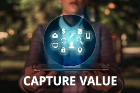 Text sign showing Capture Value. Business photo text Customer Relationship Satisfy Needs Brand Strength Retention