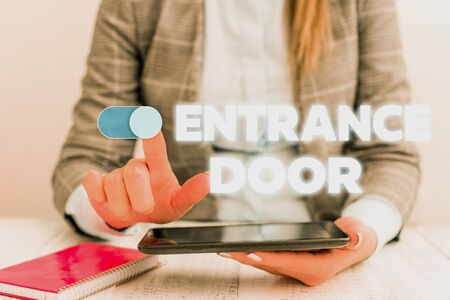 Conceptual hand writing showing Entrance Door. Concept meaning Way in Doorway Gate Entry Incoming Ingress Passage Portal Business concept with communication mobile phone