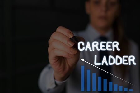 Writing note showing Career Ladder. Business concept for Job Promotion Professional Progress Upward Mobility Achiever Woman wear formal work suit presenting presentation using smart device Stok Fotoğraf