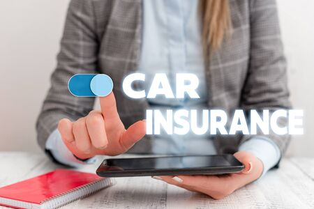Conceptual hand writing showing Car Insurance. Concept meaning Accidents coverage Comprehensive Policy Motor Vehicle Guaranty Business concept with communication mobile phone