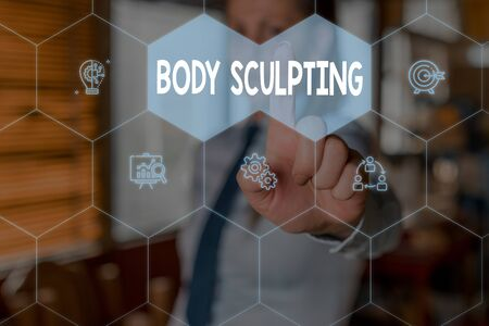 Conceptual hand writing showing Body Sculpting. Concept meaning activity of increasing the body s is visible muscle tone Woman wear work suit presenting presentation smart device