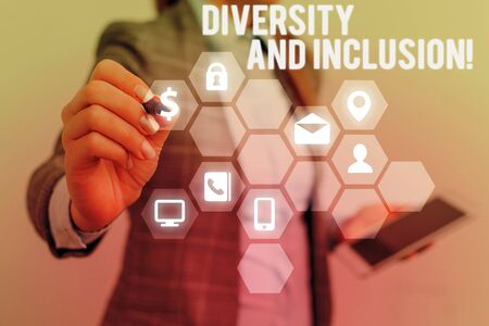 Text sign showing Diversity And Inclusion. Business photo text range huanalysis difference includes race ethnicity gender