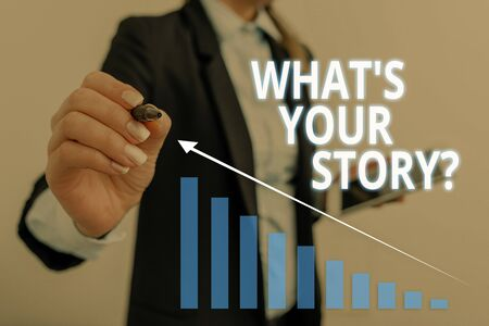 Text sign showing What S Is Your Story question. Business photo text analysisner of asking demonstrating about past life events Woman wear formal work suit presenting presentation using smart device Banque d'images