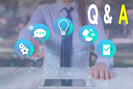 Conceptual hand writing showing Q And A. Concept meaning a period of time or an occasion when someone answers questions Female human wear formal work suit presenting smart device
