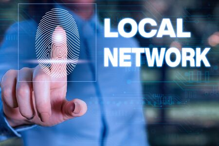 Handwriting text writing Local Network. Conceptual photo Intranet LAN Radio Waves DSL Boradband Switch Connection Woman wear formal work suit presenting presentation using smart device