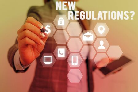 Text sign showing New Regulations Question. Business photo text rules made government order control way something is done 写真素材