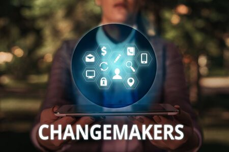 Text sign showing Changemakers. Business photo text Young Turk Influencers Acitivists Urbanization Fashion Gen X Stock Photo