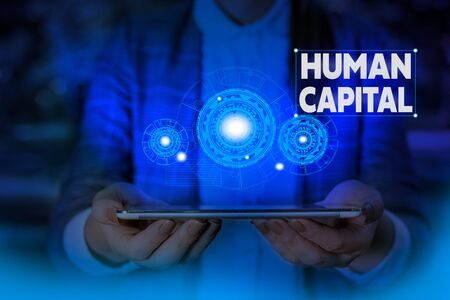 Handwriting text writing Huanalysis Capital. Conceptual photo Intangible Collective Resources Competence Capital Education Woman wear formal work suit presenting presentation using smart device Banco de Imagens