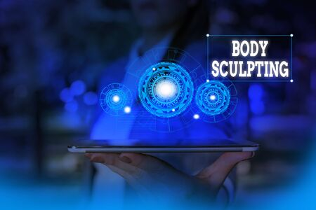 Text sign showing Body Sculpting. Business photo text activity of increasing the body s is visible muscle tone Woman wear formal work suit presenting presentation using smart device