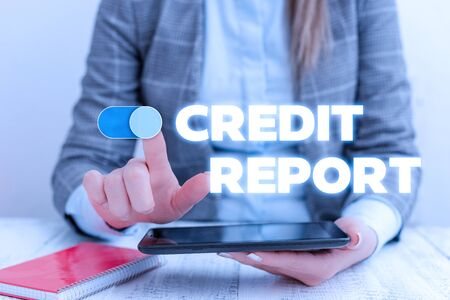 Conceptual hand writing showing Credit Report. Concept meaning Borrowing Rap Sheet Bill and Dues Payment Score Debt History Business concept with communication mobile phone Imagens