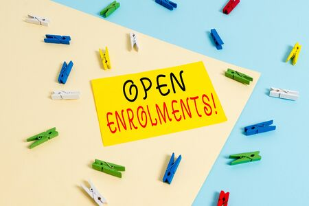 Text sign showing Open Enrolments. Business photo text when employees may make changes to elected fringe benefit Colored clothespin paper empty reminder yellow blue floor background office