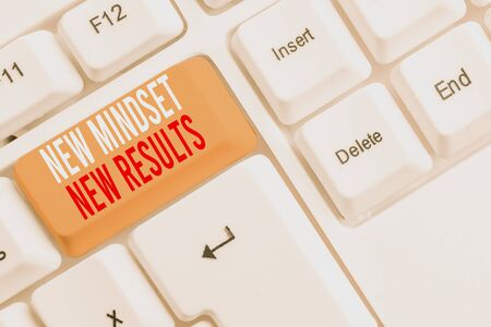 Handwriting text writing New Mindset New Results. Conceptual photo obstacles are opportunities to reach achievement White pc keyboard with empty note paper above white background key copy space Stock Photo