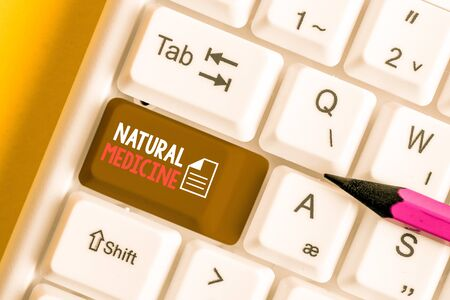 Word writing text Natural Medicine. Business photo showcasing any of various systems of healing or treating disease White pc keyboard with empty note paper above white background key copy space