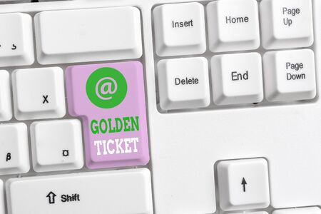 Text sign showing Golden Ticket. Business photo text Rain Check Access VIP Passport Box Office Seat Event White pc keyboard with empty note paper above white background key copy space