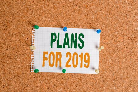 Writing note showing Plans For 2019. Business concept for an intention or decision about what one is going to do Corkboard size paper thumbtack sheet billboard notice board