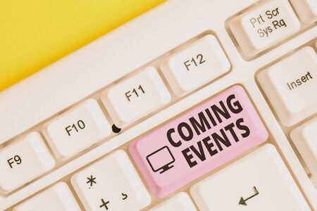Writing note showing Coming Events. Business concept for Happening soon Forthcoming Planned meet Upcoming In the Future White pc keyboard with note paper above the white background
