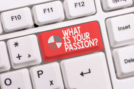 Conceptual hand writing showing What Is Your Passion Question. Concept meaning asking about his strong and barely controllable emotion White pc keyboard with note paper above the white background