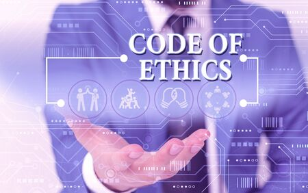 Writing note showing Code Of Ethics. Business concept for basic guide for professional conduct and imposes duties Male wear formal work suit presenting presentation smart device