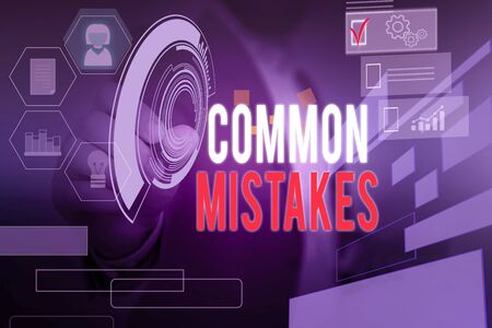 Word writing text Common Mistakes. Business photo showcasing actions that are often used interchangeably with error Male human wear formal work suit presenting presentation using smart device