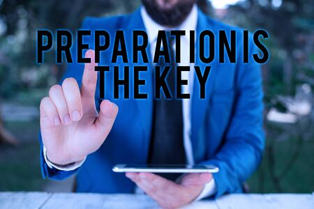Word writing text Preparation Is The Key. Business photo showcasing it reduces errors and shortens the activities Businessman with pointing finger in front of him