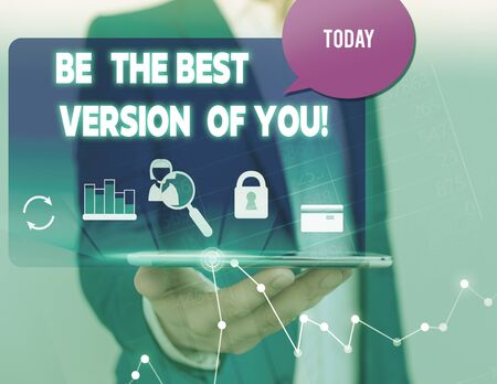 Text sign showing Be The Best Version Of You. Business photo showcasing going to move away from where are start improving man icons smartphone speech bubble office supplies technological device Фото со стока