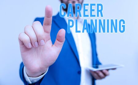 Conceptual hand writing showing Career Planning. Concept meaning Strategically plan your career goals and work success Businessman with pointing finger in front of him