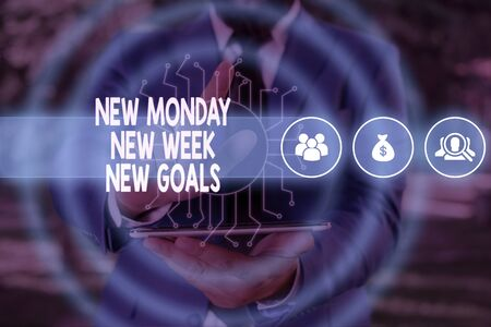Handwriting text New Monday New Week New Goals. Conceptual photo showcasing next week resolutions To do list Male human wear formal work suit presenting presentation using smart device
