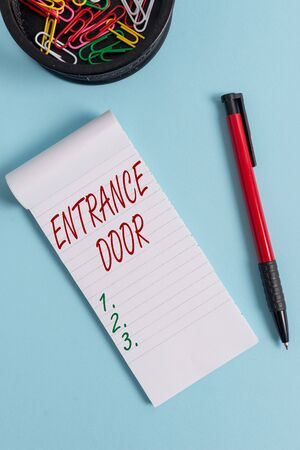 Writing note showing Entrance Door. Business concept for Way in Doorway Gate Entry Incoming Ingress Passage Portal Notebook and stationary with mouse above pastel backdrop