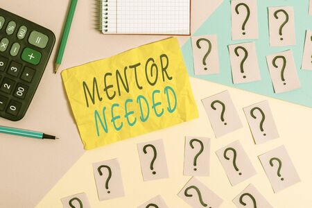 Writing note showing Mentor Needed. Business concept for wanted help for more experienced or more knowledgeable demonstrating Mathematics stuff and writing equipment above pastel colours background Stockfoto
