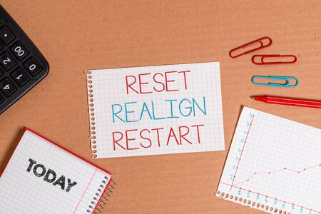 Writing note showing Reset Realign Restart. Business concept for Life audit will help you put things in perspectives Cardboard notebook office study supplies chart paper