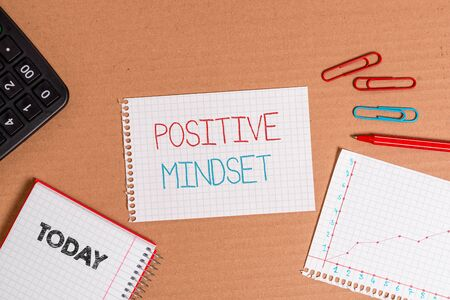 Writing note showing Positive Mindset. Business concept for mental attitude in wich you expect favorable results Cardboard notebook office study supplies chart paper